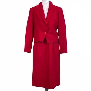 Christian Dior Vintage Red Wool Skirt Suit SZ 14